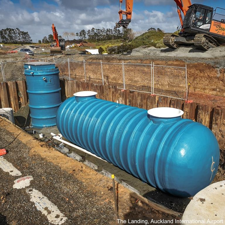 Packaged Pumpstation at The Landing, Auckland Intl Airport on site